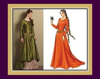 ROMANTIC LADY MARIAN -Costume Sewing Pattern-2 Styles-Princess Seams-Train-Underskirt-Low Sling Belt-Scoop Neckline-Uncut-Size 6-12-Rare