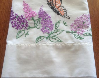 Vintage Orphan Pillowcase, Embroidered Monarch Butterfly and Butterfly Bush, Buddleia