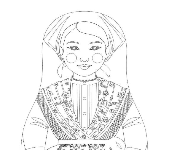 Croatian Istrian Doll Traditional Dress Coloring Sheet Printable