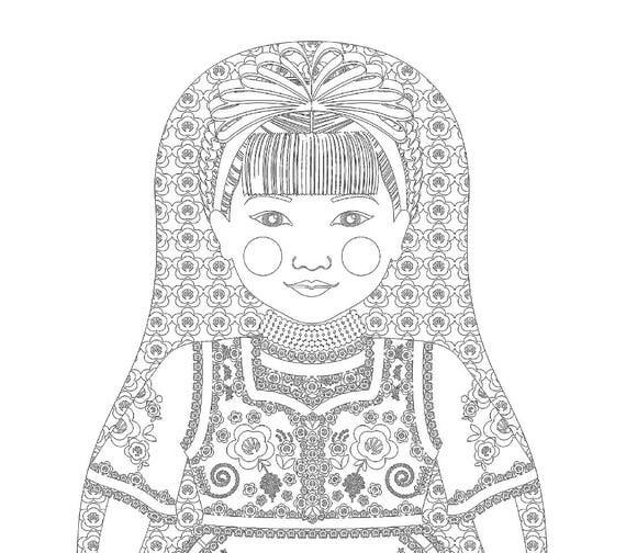 Hungarian Doll Folk Dress Coloring Sheet Printable Matryoshka