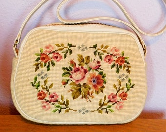 Vintage 1960s Needlepoint Purse - Custom Made by Kurt Chambre - Cream-Colored Leather, Cross-Body Shoulder Strap, Zipper Closure - Mint