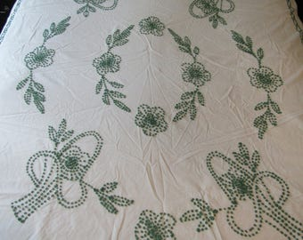 "Vintage Retro Coverlet Bedspread Candlewick on Muslin 101"" x 68"""