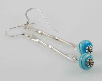 Turquoise Colored  Lampwork  Swirl Bead Dangle Artisan Earrings, Sterling