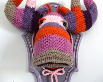 Crochet Color block Moose head in a light purple frame