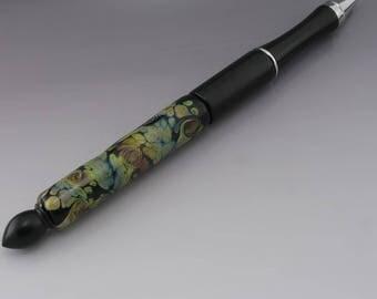Artisan Lampwork Glass Pen - Black Raku Swirls Tan Purple Blue Pink Encased Black Pen  - Heather Behrendt BHV SRA LETeam 3783
