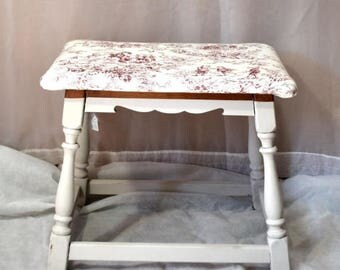 Covered Stool Small Bench Toile Fabric