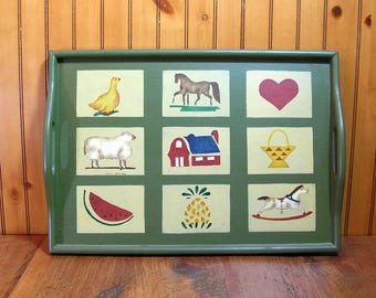 Hand Painted Country Style Wood Tray