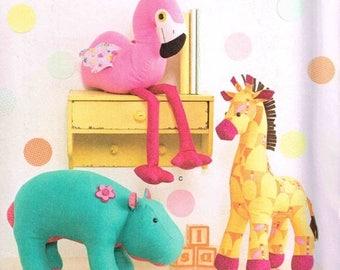 On Sale Stuffed Toy Sewing Pattern Flamingo Bird Hippo Giraffe Plush Dolls Craft Simplicity 1082 Soft Plushie