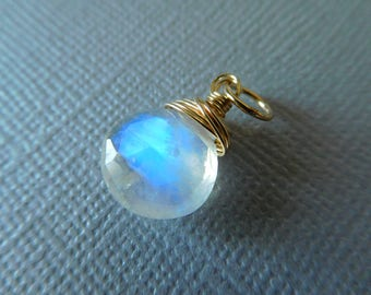 MOONSTONE Charm Pendant Add a Dangle Drop / Heart, 22-23 mm, Sterling Silver or 14k Gold Filled Wire Wrap / june birthstone bridal gd1 solo