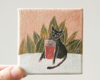don't drink the kool-aide / cat art, original small painting