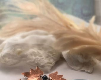 End of Summer SALE Double Lotus Blossom Earrings with teal pearls and sea glass drops - Copper, Bronze or Sterling