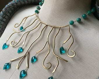 Blow out SALE Bronze goddess - swirly branches and paraiba blue quartz, russian amazonite