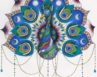 Mandala Peacock - Fully archival fine art print