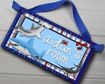 Shark Adventure Boys Bedroom DOOR SIGN Wall Art DS0003