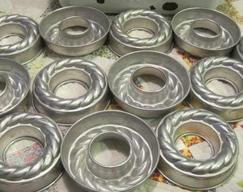 Lot of 12 Vintage Aluminum Small Ring Jello Molds