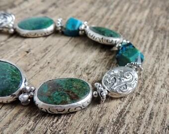30% OFF CIJ Chrysocolla Bracelet, Artisan Jewelry, Silver Bezels, Bezel Set Stones, Artisan Silver, Urban Chic, Southwest Style, Statement J