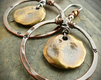 Mixed Metal Hoop Earrings Silver Copper Brass
