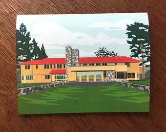 Graycliff,lakeside view, Frank Lloyd Wright architecture, New York, card