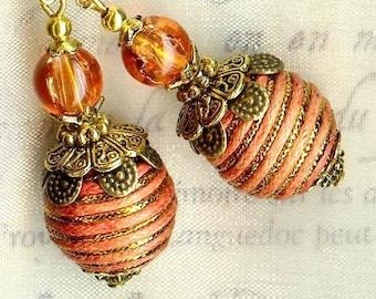 Silk apricot ORANGE OR514 glass Flower Earrings