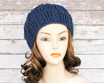Blue Wool Blend Ladies Cabled Hat, Woman's Winter Hat
