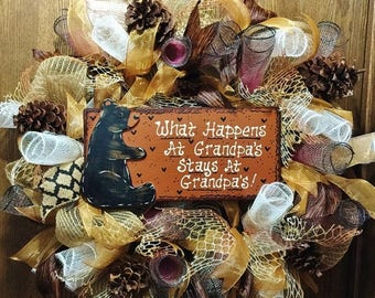 SALE & FREE SHIPPING What Happens at Grandpas Stays at Grandpas - Welcome Door Wreath
