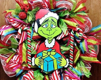 SALE & FREE SHIPPING Grinch that Stole Christmas Presents Candy Cane - Welcome Door Wreath