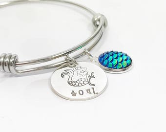 Mermaid Soul Bangle - Mermaid Scale Jewelry - Mermaid Bracelet - Mermaid Gift - Teen Jewelry - Hand Stamped Bracelet - Silver Bracelet