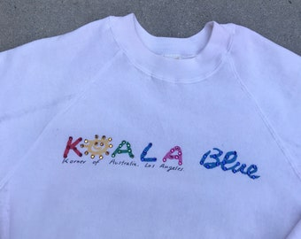 Koala Blue Korner of Australia Los Angeles White Bejeweled Crewneck Sweatshirt Size Medium