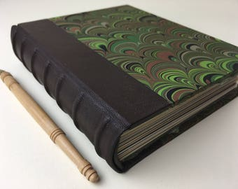 Heirloom Journal with leather spine & green marbled cover, Archival European Case-bound book with mixed-media papers, Hand-bound Journal