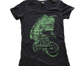 Iguana on a Bike- Womens T Shirt, Ladies Tee, Tri Blend Tee, Handmade graphic tee, sizes S-XL