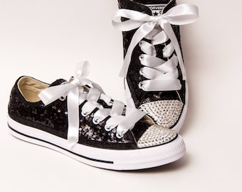 Tiny Sequin - Full Starlight Converse Black Canvas Low Top Sneakers with Rhinestone Toes and Satin Ribbon Laces