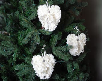 Shabby Angel Wings Christmas Ornament Decor Remembrance (set of 3)