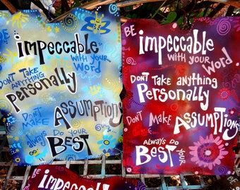 Four Agreements Metal Sign: Colorful Home and Yard Art