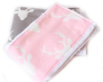 SALE Deer Burp Cloths, Pink Gray  Animal Girl Burp Cloth - Diaper Burp Cloth set of 2