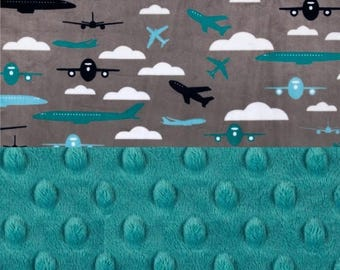 SALE Personalized Baby Blanket Boy / Airplane Mini Minky Baby Blanket - Lovey Airplane Blanket, Gray Blue Teal // Burp Cloth