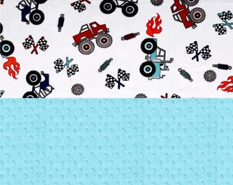 SALE Personalized Baby Blanket - Monster Truck Minky Baby Blanket Boy, Name Blanket // Truck Blanket / Baby Shower Gift