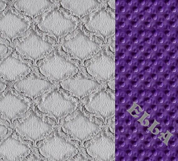 Baby Girl Minky Baby Blanket, Purple Gray Geometric Personalized Baby Blanket, Nursery Decor, Kids Minky Blanket Name Baby Blanket Baby Gift