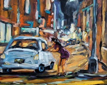 On Sale Urban Scene Corner Deal small oil painting created by Prankearts