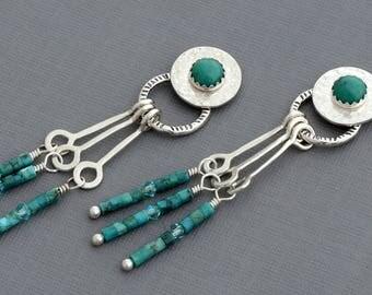 Genuine turquoise stud earrings front back earrings two sided earrings double sided earrings southwestern tribal bohemian earrings ear wrap