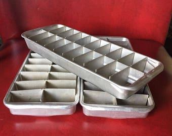 Vintage Aluminum Ice Cube Trays, set 3 - Retro 1950's Freezer