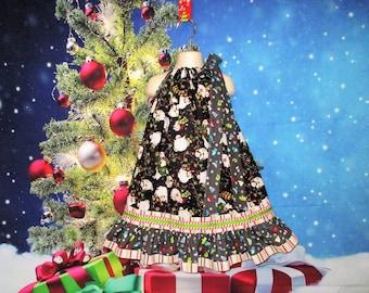 Girls Christmas Dress 5/6 Black White Winter Snowmen, Hats, Gloves Pillowcase Dress, Pillow Case Dress, Sundress, Boutique Dress
