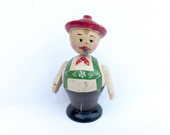Vintage Wooden Figurine Cigar Smoker Made in Italy Green Lederhosen Red Hat