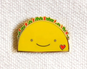 Taco Lover Pin - Lapel Pin - Cloisonné Enamel Pin - Shiny Gold Metal - Gift for Taco Lover - Kawaii Flair Pin - EP2070