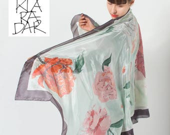 Silk shawl- Minty Peonies Hand painted silk scarf Floral shawl wedding Oversized scarf pareo Pink minty shawl, Mother's Day gifts KSS17