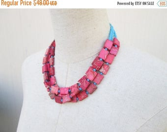 Memorial Day SALE Hot Pink Turquoise Multi Strand Beaded Layered Necklace