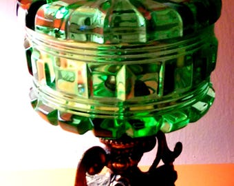Unique Vintage 1950's Regency-Style Pedestal Green Glass Compote
