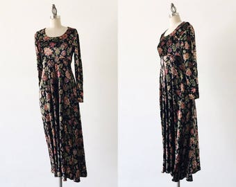 Vintage 1990s Nostalgia Crushed Velvet Long Sleeve Floral Midi Dress - S