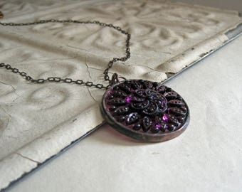 Amethyst Glass Medallion Pendant, Stained Glass Jewelry, Long Necklace