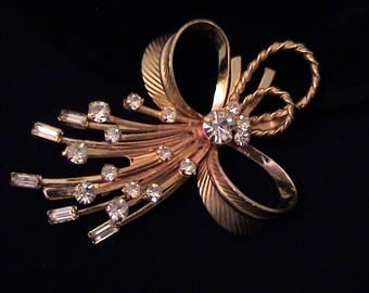 "Vintage Sarah Coventry ""Vogue"" Rhinestone Bow Brooch"