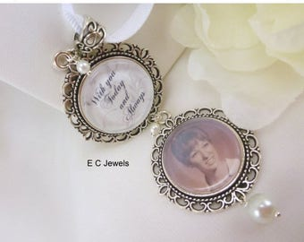 Summer Sale Wedding Bouquet Memorial Photo Charm with a Pearl Accents - Pick your color